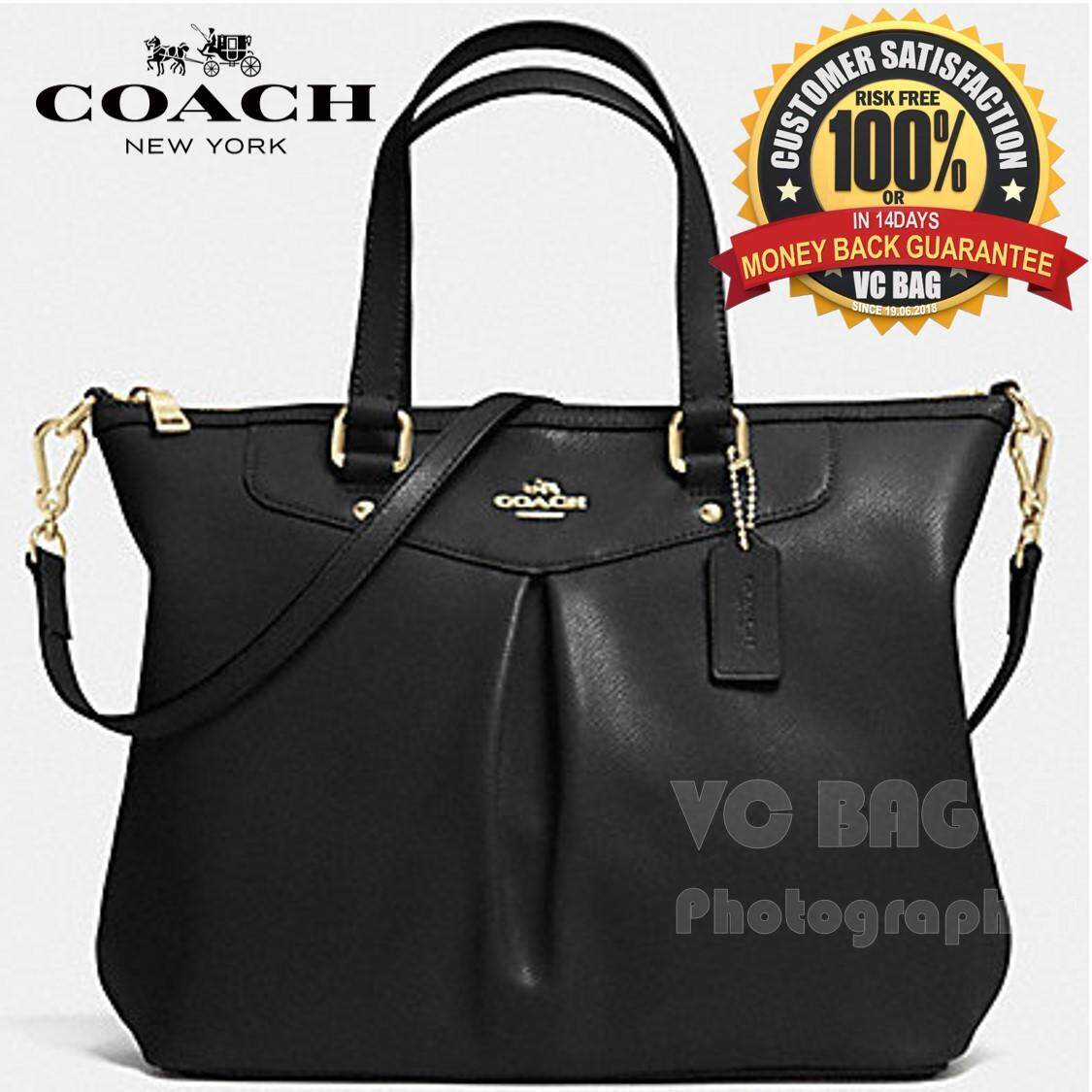 COACH F34614 Crossgrain Leather Pleat Tote Bag  Gold Back  b6da60e33f993