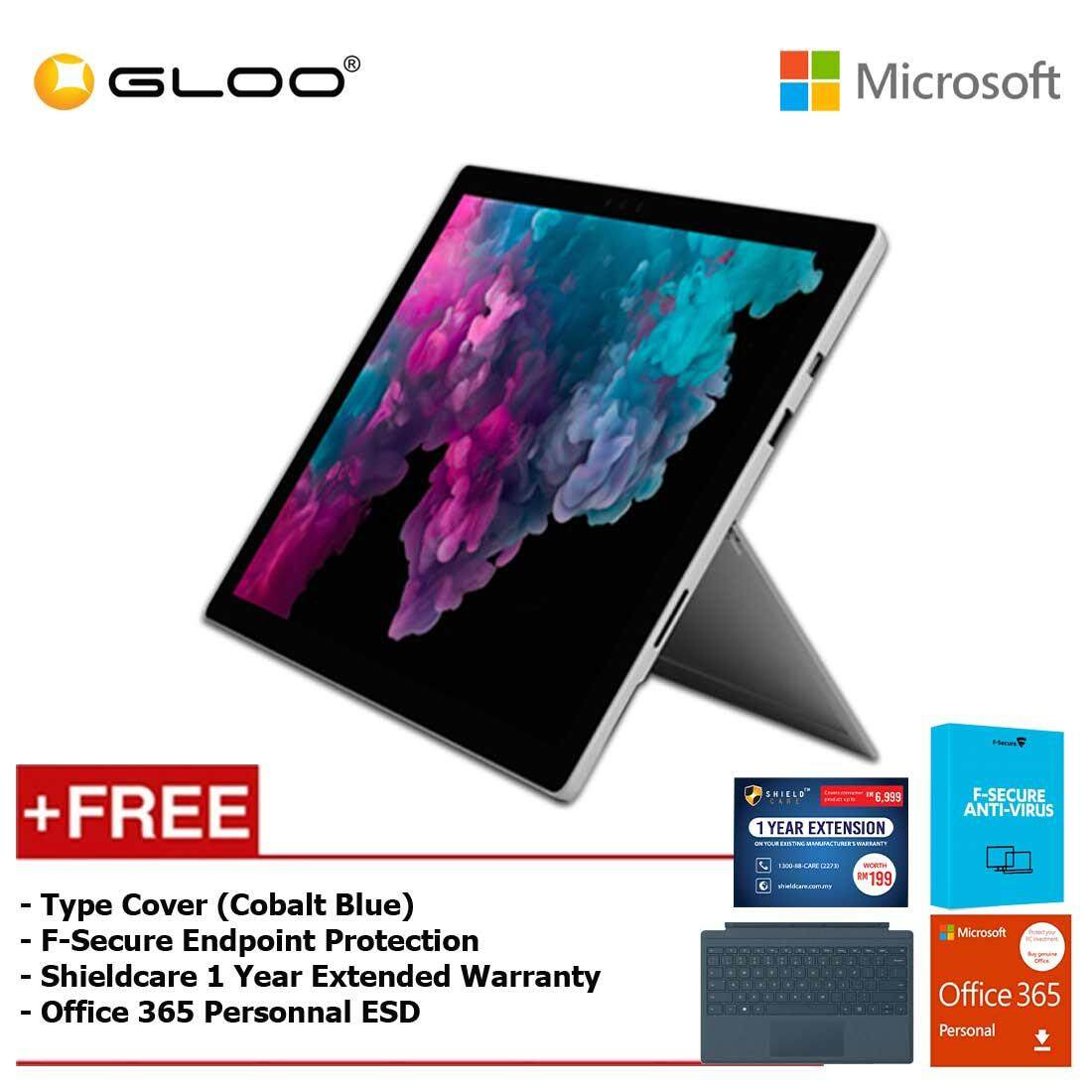 Microsoft Surface Pro 6 Core i5/8GB RAM - 256GB + Type Cover Cobalt Blue + Office 365 Personal (ESD) + F-Secure Endpoint Protection + Shieldcare 1 Year Extended Warranty Malaysia