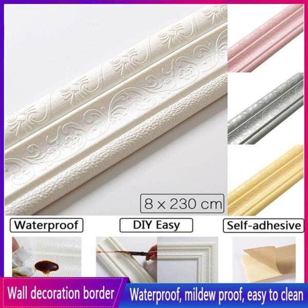 Wall Trim Line Skirting Waterproof Border  Wall Sticker Top Corner Line Wall Edge Strip Wall Waist Line Sticker Tiles Wallpaper Border 3D Wall Decor Self Adhesive Waterproof Strip