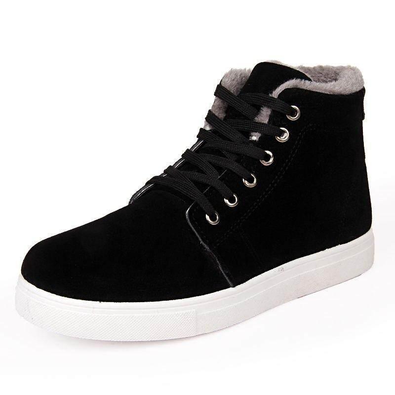 แฟชั่นฤดูหนาว Faux Fur หนัง Pu รองเท้าลุยหิมะลำลองผู้ชายรองเท้ารองเท้าหุ้มข้อชายเกาหลีรองเท้า Hh-870 By Chhuist.