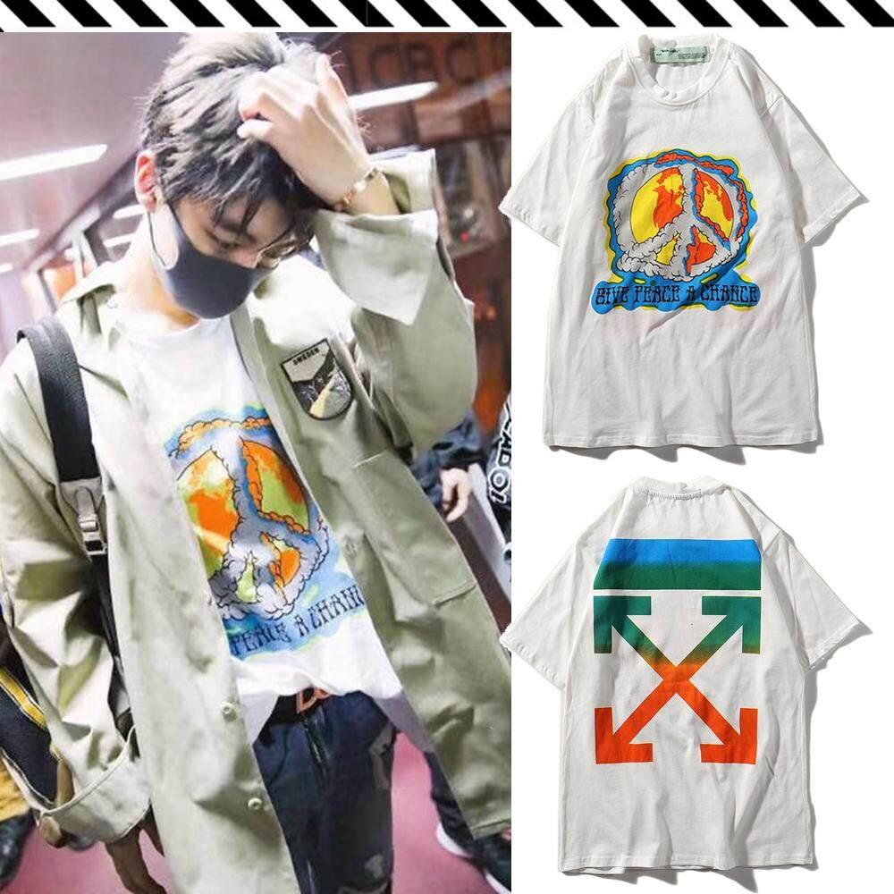 e08a767bc5f8 OFF -WHITE Men Women Short Sleeve T-Shirt Scorpion Rainbow Anti-War Casual