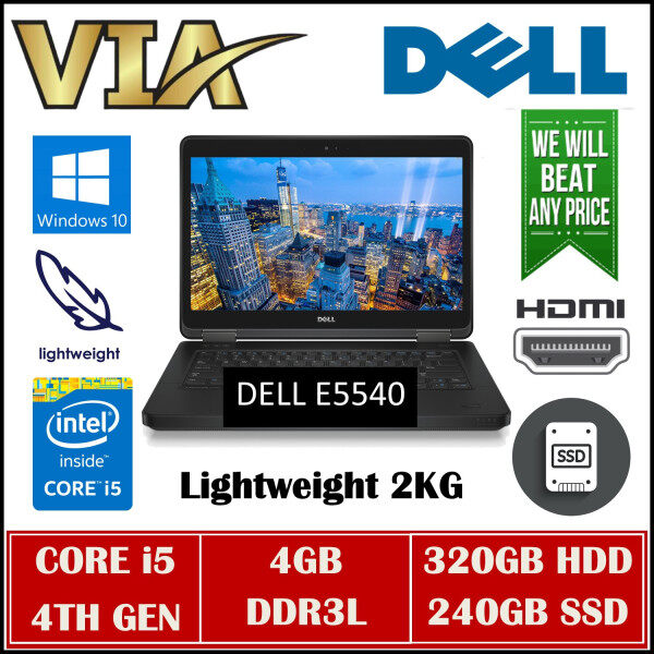 HDMI BUSINESS NOTEBOOK DELL E5540~CORE i5-4TH GEN~4GB DDR3L~320GB HDD/240GB SSD~WINDOWS 10~ Malaysia
