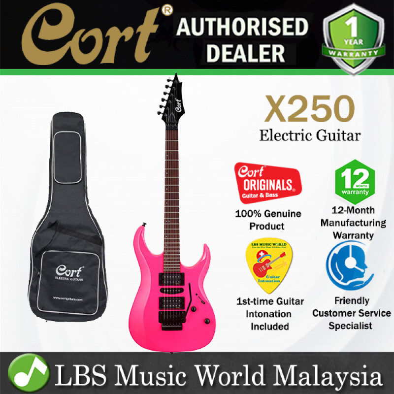 Cort X250 Double Cutaway Bolt On Meranti HSH Pickup Tear Drop Pink Electric Guitar (X 250) Malaysia