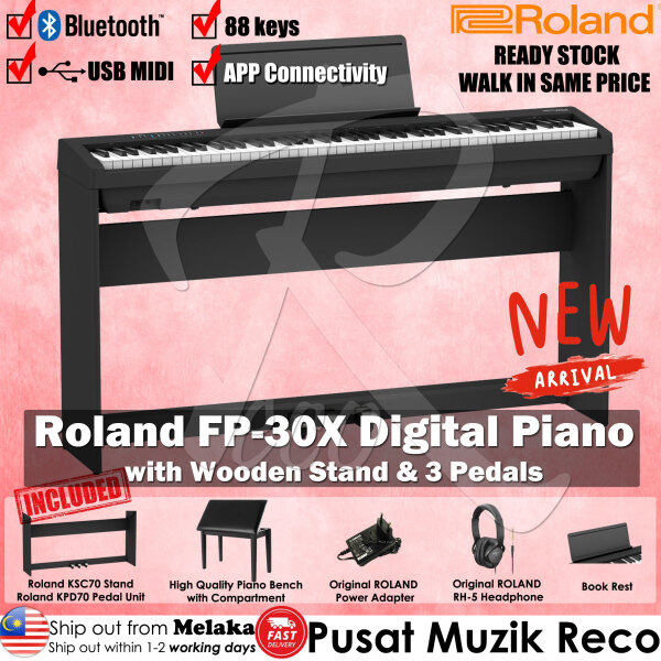 Roland FP-30X FULL SET *2021 LATEST Model* 88 keys Digital Piano with Piano Bench , Roland RH-5 Headphone , 3 Pedals Unit , Wooden Stand Black FP30X FP 30X Malaysia