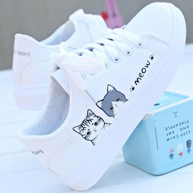 รองเท้าหนังสีขาวผู้หญิงฤดูใบไม้ผลิ 2019 ใหม่เกาหลีรองเท้าแบนป่าฤดูใบไม้ร่วงรองเท้านักเรียนรองเท้าสีขาวแมว.