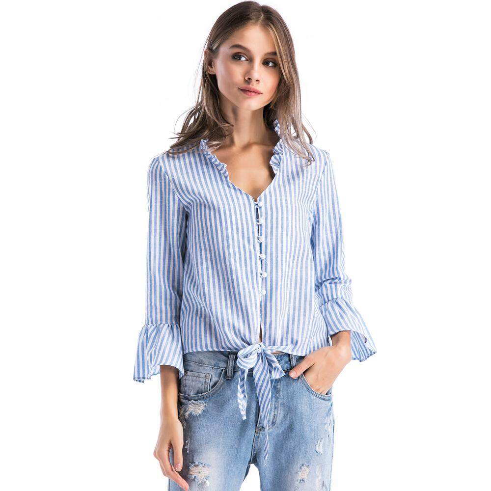 4683460d2560 ladies tops pearl single breasted ruffle v neck flare sleeve light Blue  striped short elegant blouse