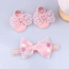 Set vớ ren + băng đô turban Đính Ngọc Trai Nhiều Màu Sắc dành cho bé gái – INTL