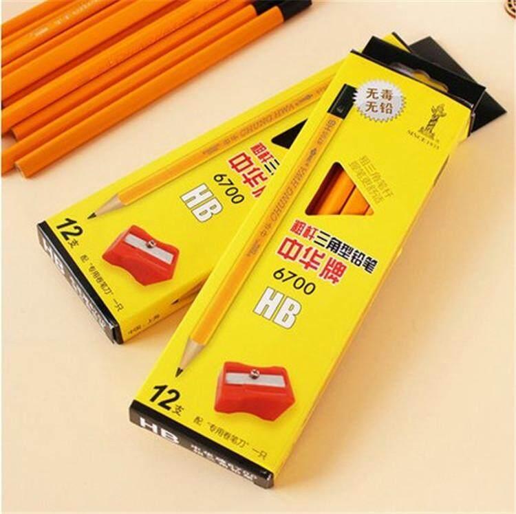 Cina 6700 tebal TRIANGLE pensil anak-anak korektif postur pegang Cina besar TRIANGLE pensil tidak beracun bebas Timbal