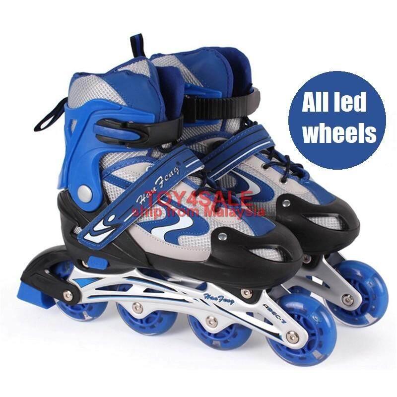 Kids Rollerblade Inline Skate + ALL LED Wheel Adjustable Shoe Roller Blade  Kasut Roda 04d8fc727a