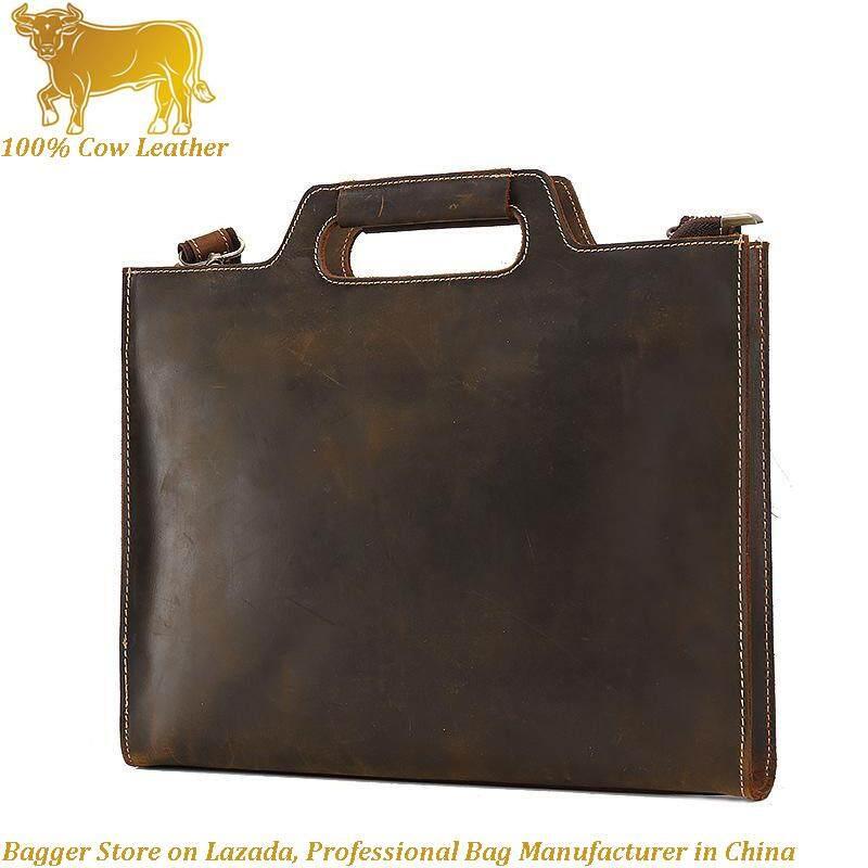 6fb6a5fbe6 Men s Bag Crazy Horses Handbags Shoulder Bags Cross Section Antique Cowhide Leather  Handbag Fashionable Handbag Briefcase