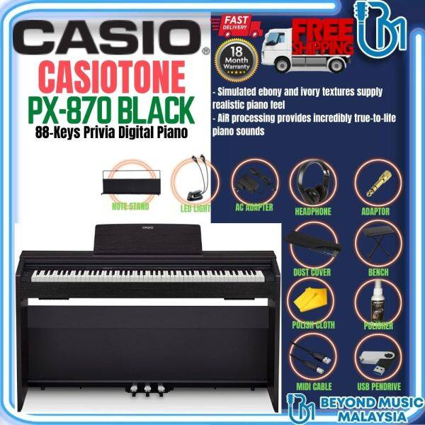 Casio PX-870 88-Keys Privia Digital Piano with Bench and Headphone - Black (PX870) Malaysia