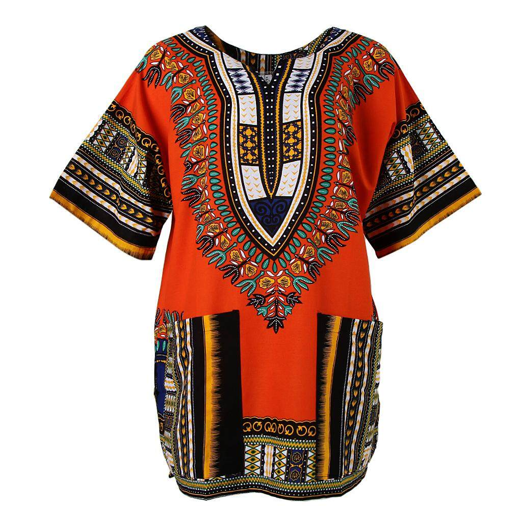 a7cdde8a2fc7 Fenteer African Embroidery Print Dress Cotton Dashiki Shirt Thai Clothing Hippie  Tshirt for Women Men