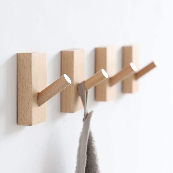 【YIDEA HONGKONG】Natural Wood Wall Hooks 1 Piece Wood Hooks Wooden Coat Hanger Coat Hooks Kit Coat Hooks for Towel Rails Multipurpose Decoration In The Bedroom, Living Room, Hallways