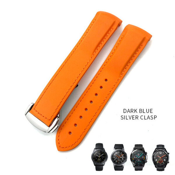 20mm 19/21mm 22mm Curved end Silicone rubber watch band suitable for HUAWEI GT2 Samsung Galaxy Watch S3 S4 MIDO Hamilton strap Malaysia