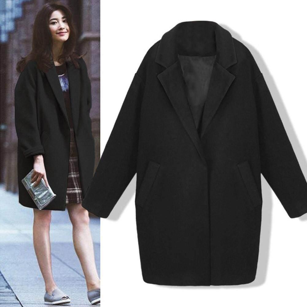 Lion Womens Winter Lapel Wool Coat Trench Jacket Slim Fashion Overcoat Outwear