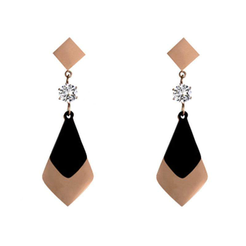 55af51a03 Exaggerated Surface Diamond Earrings Flow Female Long Cool Zircon Titanium  Steel Stud/post Earrings,