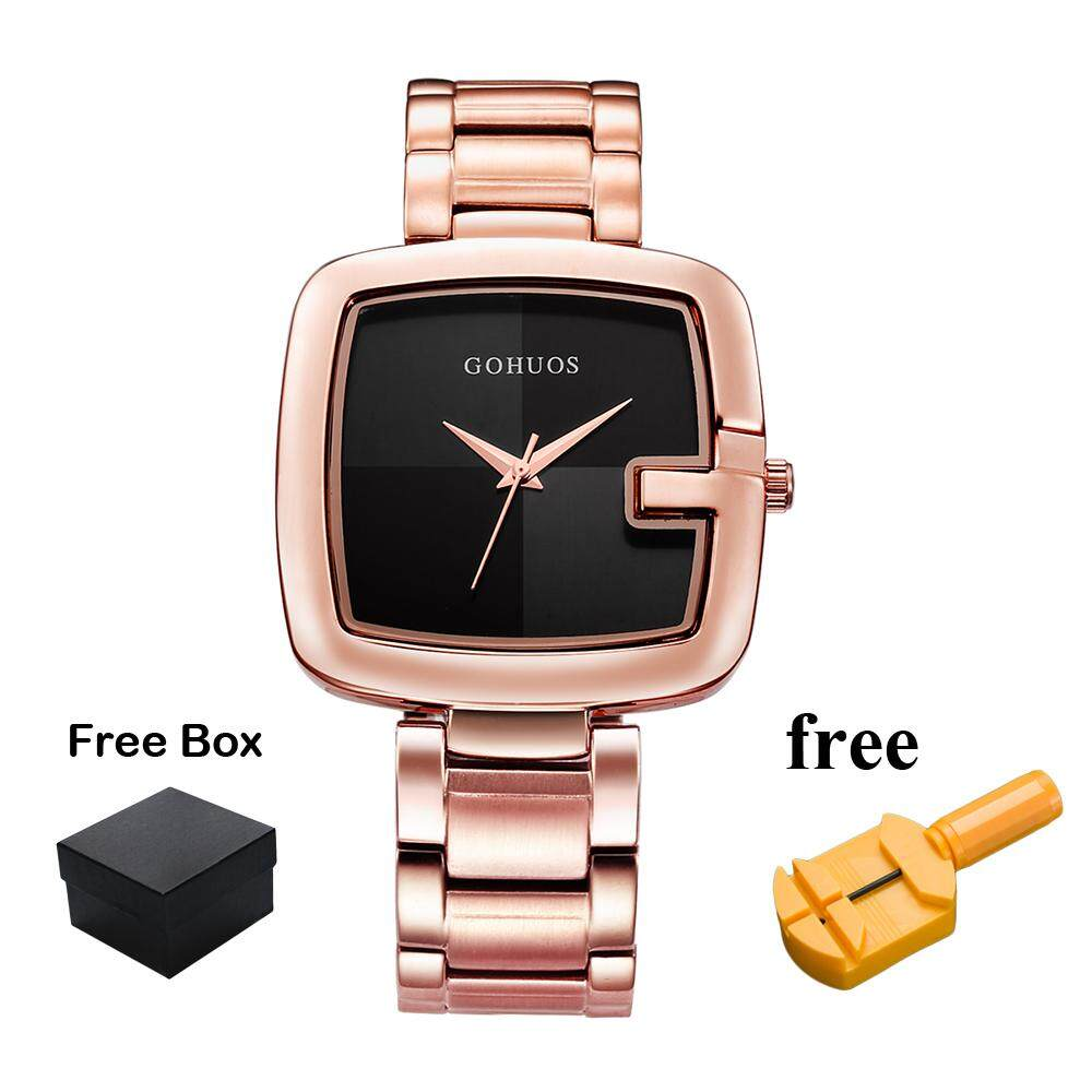 GOHUOS Brand Fashion Business Quartz Movement Wristwatch For Women Square Dial Stainless Steel Strap Women Watches Simple Dial Life Waterproof Time Display Ladies Watch GS03 Malaysia