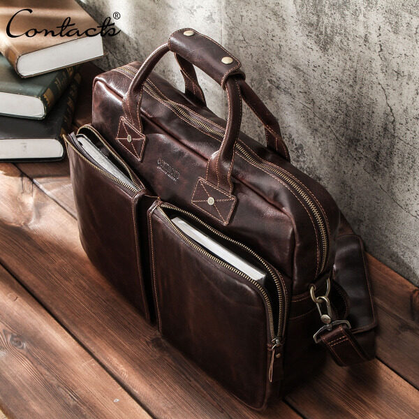CONTACTS Men Briefcase Genuine Leather Laptop Bag High Quality Business Tote Bag Male Shoulder Bags