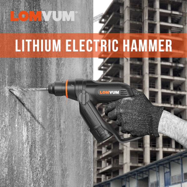 LOMVUM 12V Mini Electric Demolition Hammer Drill Breaker Chisels  Impact drill Lithium battery electric hammer multifunctional high-power wall piercing industrial household power tools concrete