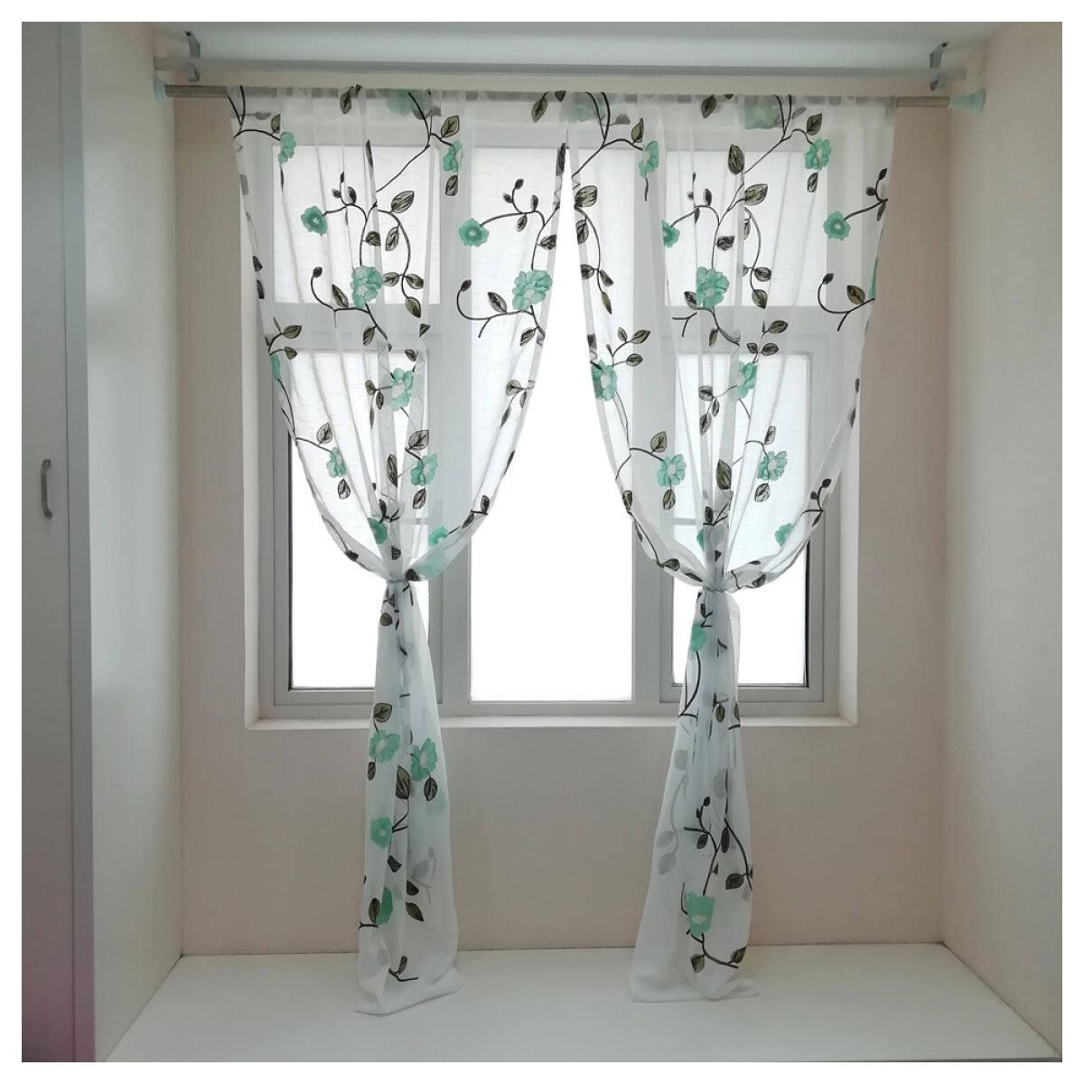 Blue Floral Embroidered Curtains For Living Room Pastoral Sheer Kitchen Window Drapes Langsir 1 Pc Rod Pocket Lazada