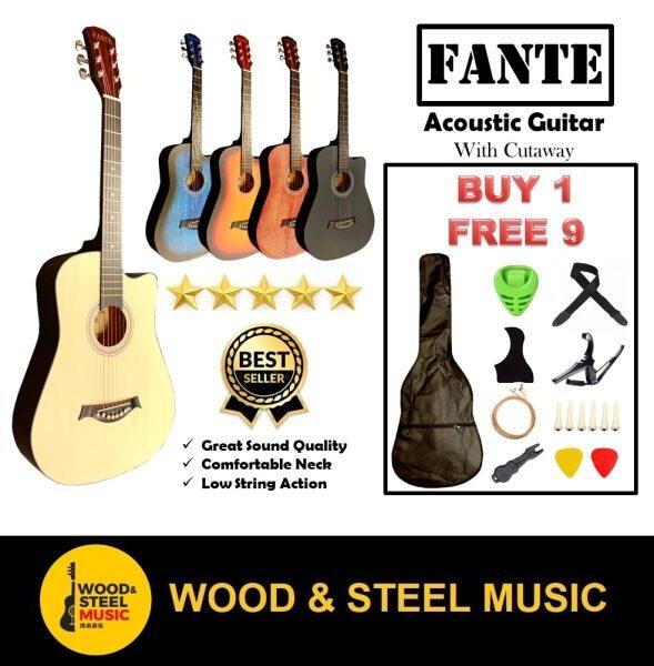FANTE FT-D Series Acoustic Guitar with Free Bag, Strap, Capo, Strings, Pick, Pickguard, Pins /basic guitar/Beginner Guitar(Gitar Kapok/Gitar Akustik) Malaysia