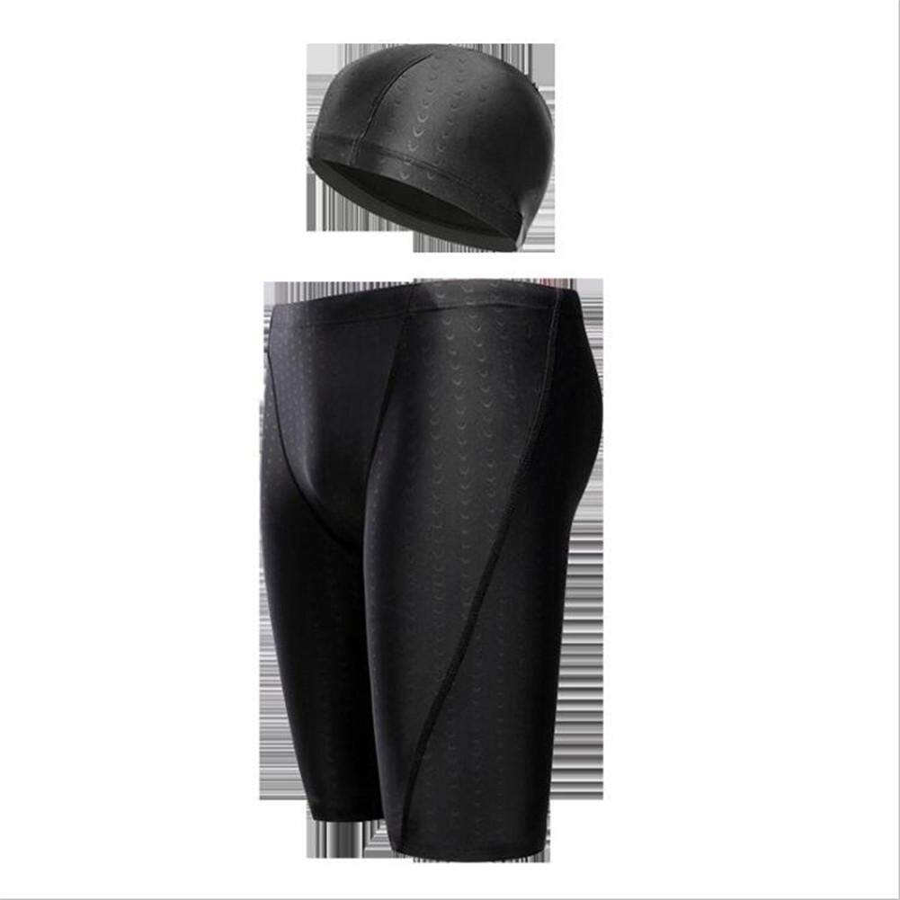 North Star Men Middle Length Swimming Trunks + Professional Swimming Cap Large Size Bathing Suit By The North Star.