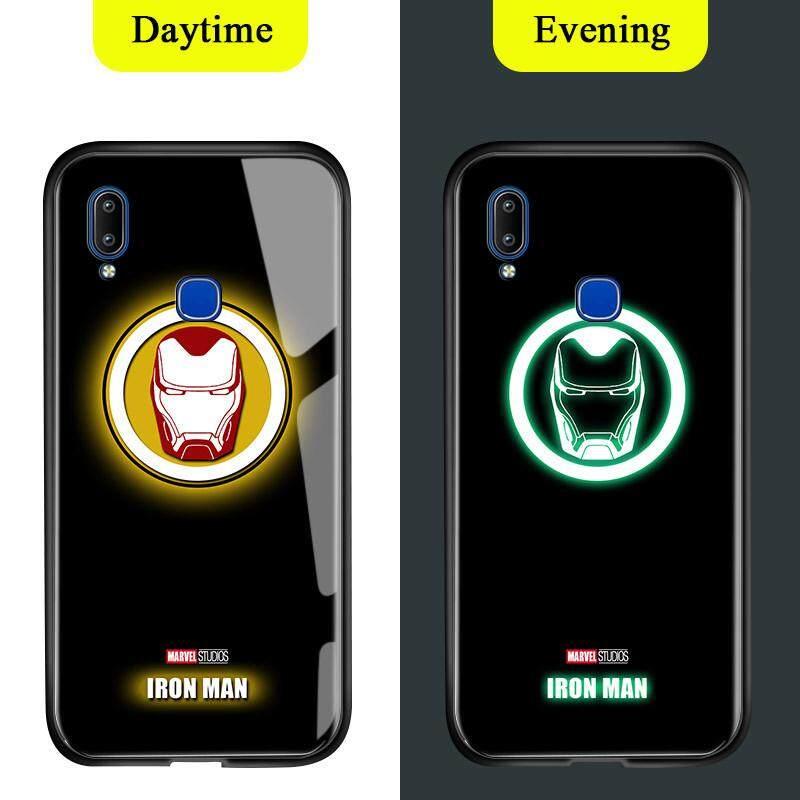 Untuk Vivo Y91 Y95 Y91i Cahaya Berseri-seri Dalam Gelap Marvel Manusia Super Avenger Logo Sarung Berkilau Ironman Spiderman Thor Kaca Antigores Kembali Casing Kover