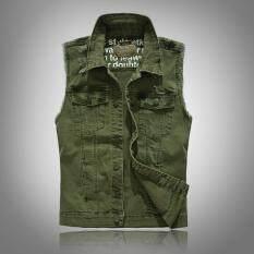 Chắc chắn Màu Xanh Denim Áo Vest nam PUNK ROCK Phong Cách Không Tay Thời Trang Nam Mùa Hè Áo Dạo Phố Ngoài Trời Ôm Bông Tai Kẹp Ulzzang áo vest Homme