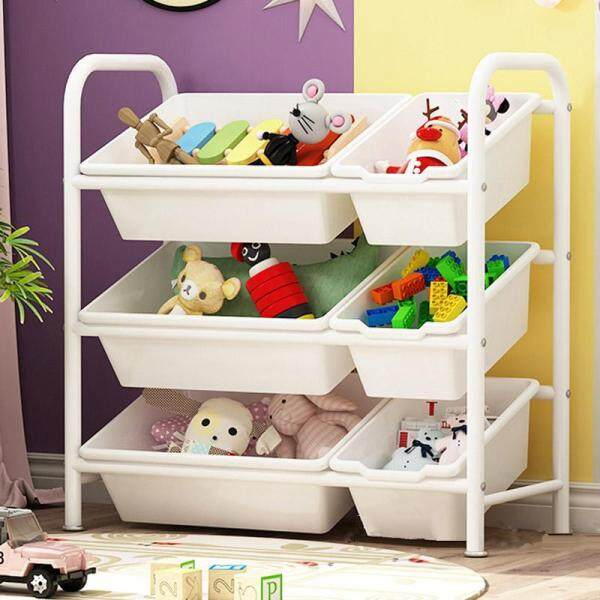 RuYiYu - Kids Toy Organizer and Storage Bins, 6 Bins in Fun Colors, Toy Storage Rack, Steel Pipe Frame