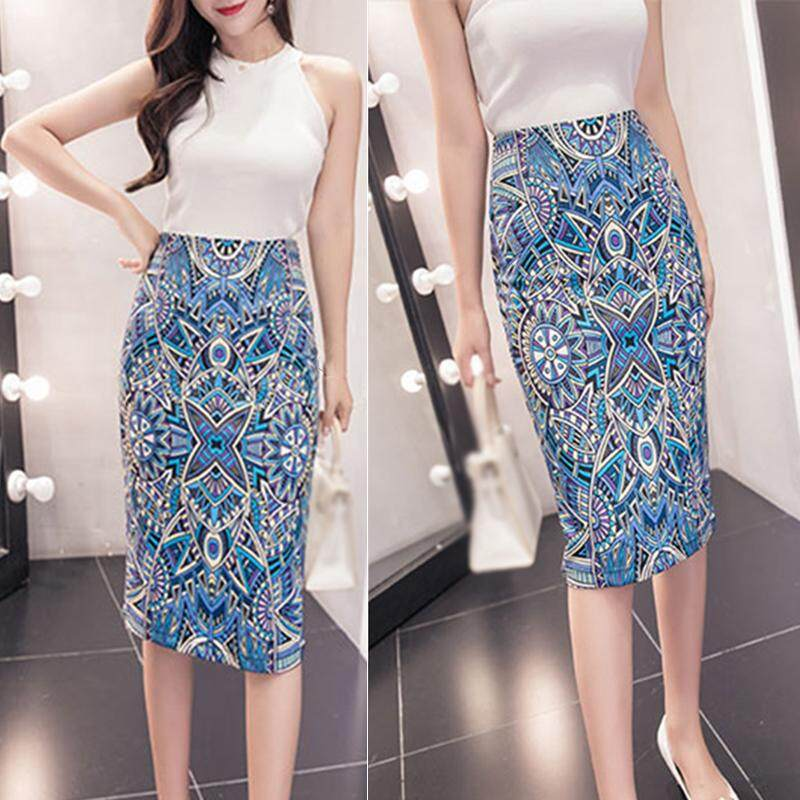 ec31dddc86 Women Ladies Knee-length Pencil Skirt Printing High Waist Tight Slim Plus  Size
