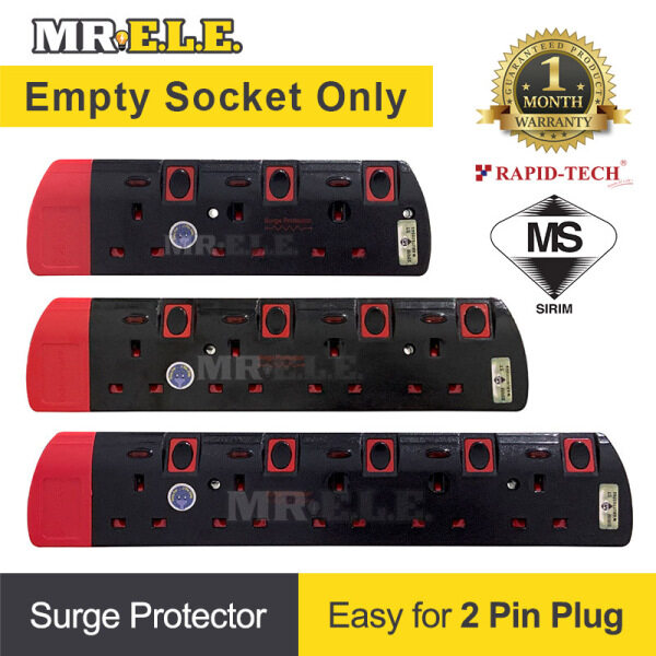 [Sirim] Empty Socket Only Extension Trailing Socket Plug Adaptor Surge Protector Easy For 2 Pin Plug Black/Red body
