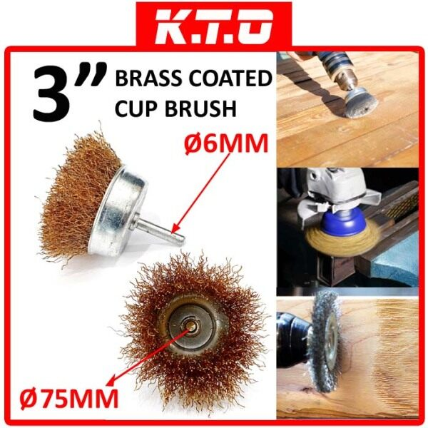 3 BRASS COATED DRILL WIRE CUP BRUSH with SHANK ( RUST , CORROSION , PAINT REMOVER ) - B1-08-CB3