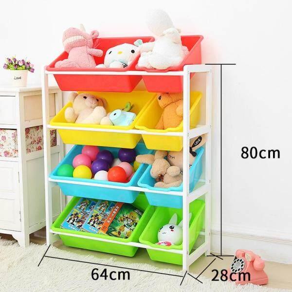 RuYiYu - 64X28X80cm, Kids Toy Organizer and Storage Bins, 8-Bins in Fun Colors, Toy Storage Rack, Natural/Primary