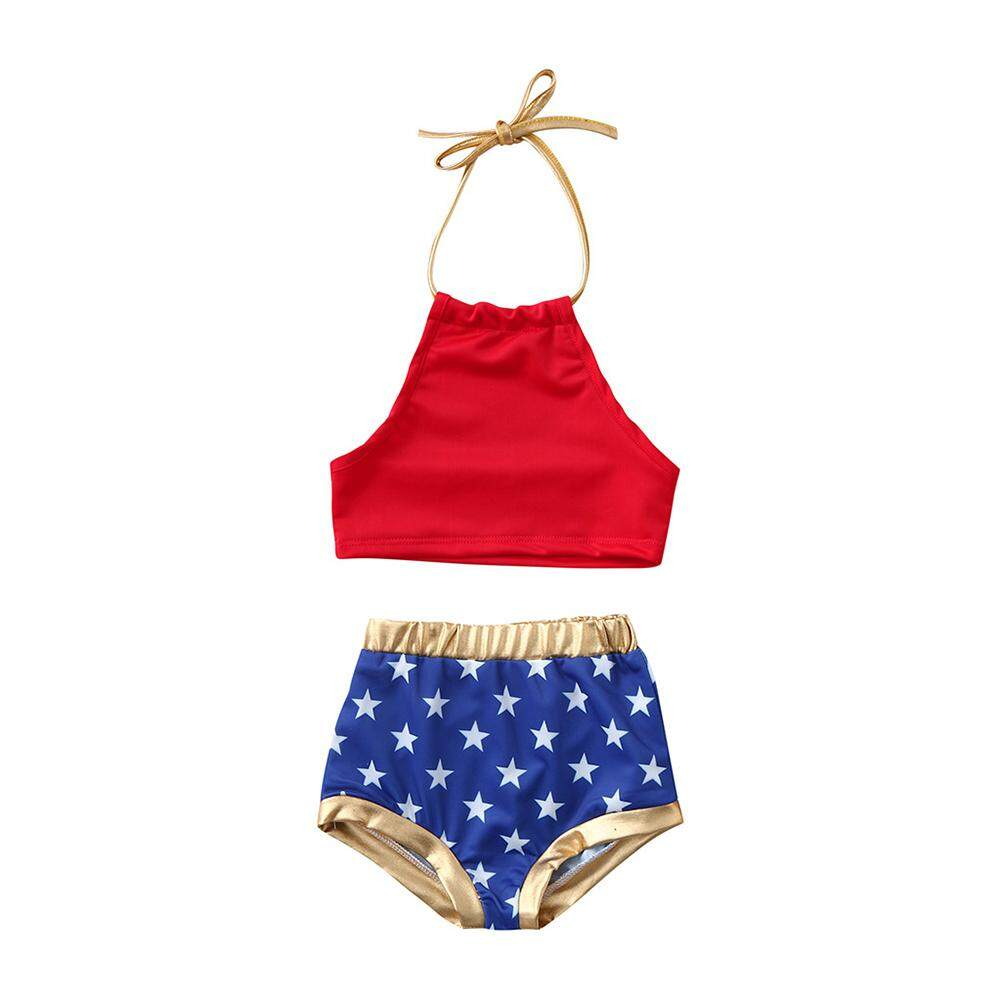Big Sale 2 Pcs/set Anak Gadis Fashion Chic Bikini Bendera Amerika Set Baju Renang By Four Season Big Sale.