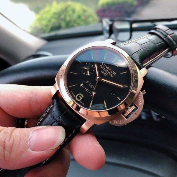 IN Stock Panerais fashion for men simple casual functional new 2020 black dial gold Dezel leather strAps 44mm Malaysia