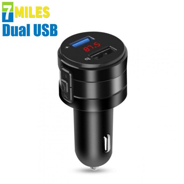 Bộ Sạc Trên Xe Hơi Sạc Nhanh USB Kép 5V 2.1A Có Máy Phát FM Không Dây Bluetooth
