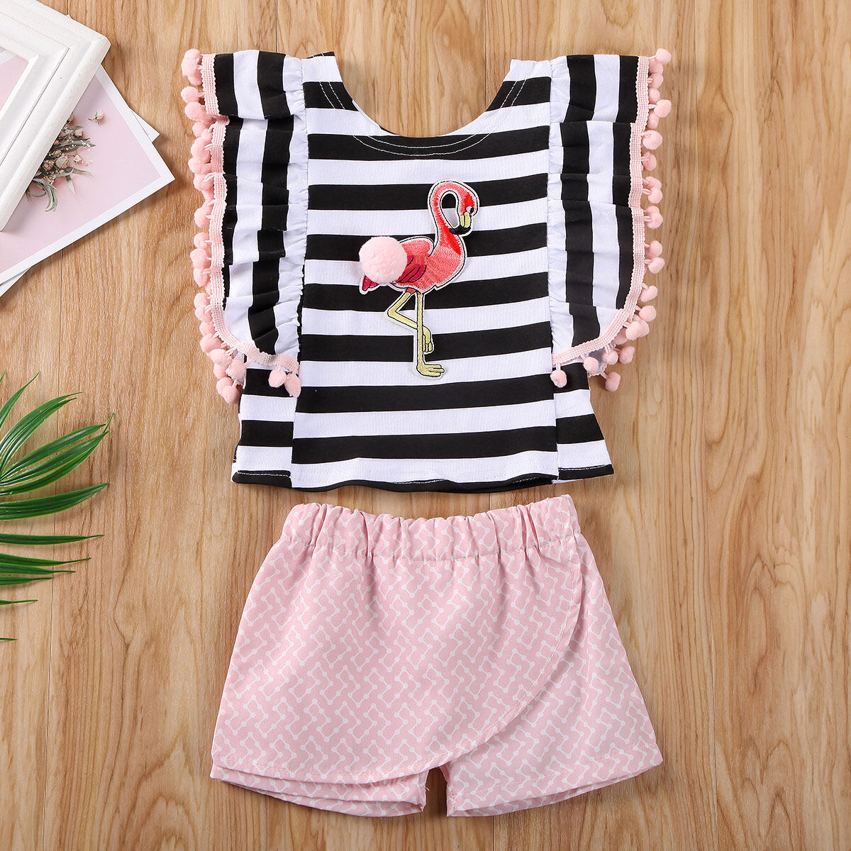 2PCS Summer Toddler Kids Baby Girls Outfits Flamingos Tops+Short Pants Clothes