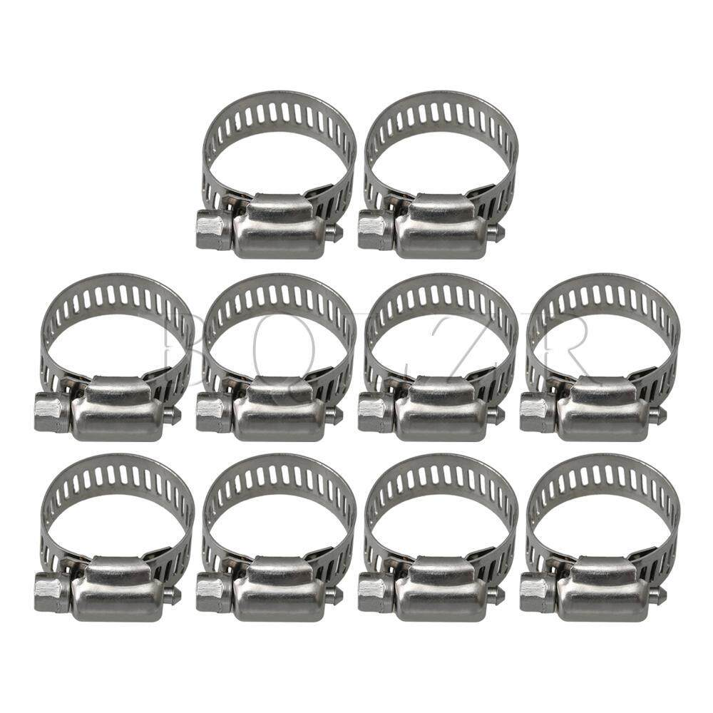 Stainless Steel Hose Pipe Clamps Clips Fastener with Screws Silver Pack of 10