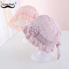 I Love Daddy&Mummy Mũ hình hoa phối ren xếp nếp dễ thương màu trơn chất liệu cotton mềm dành cho bé gái sơ sinh – INTL