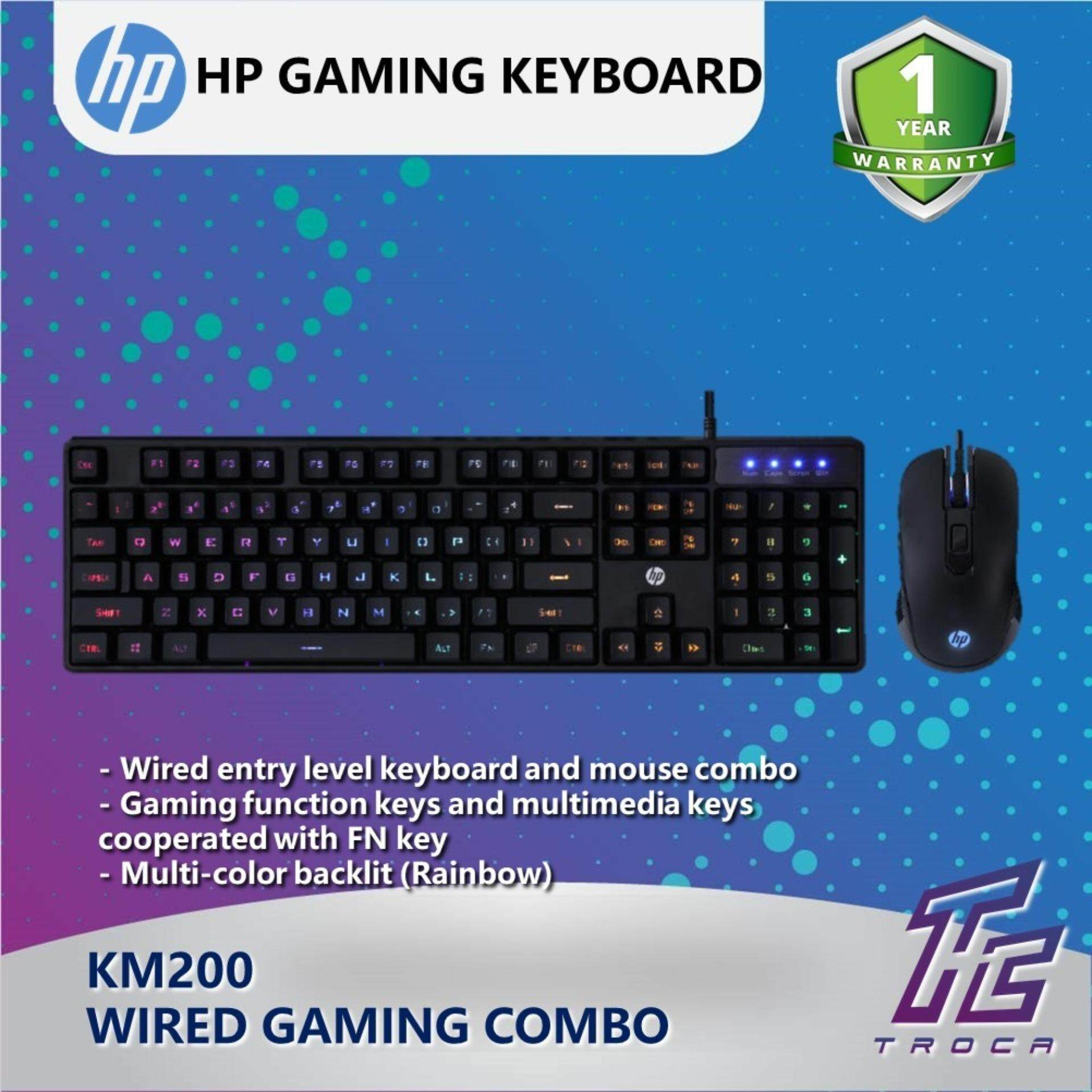 HP Gaming Combo Keyboard & Mouse Combo with Rainbow Colorful Backlit (KM200) - Black Malaysia