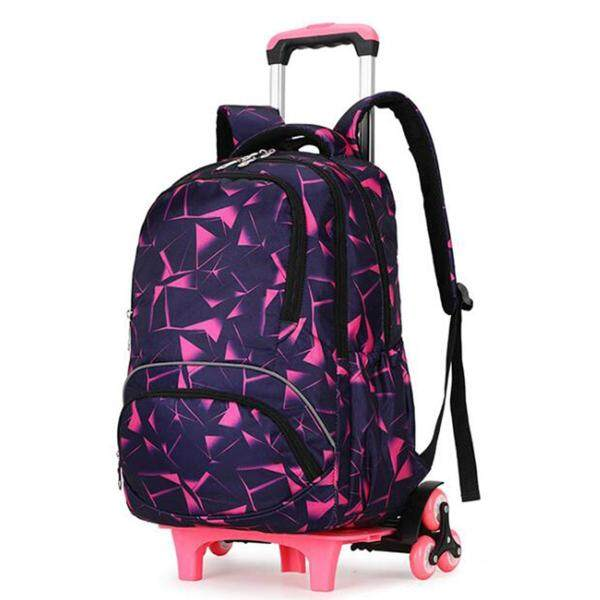 6 Wheels Removable Trolley Backpack Reflective Belt School Bag Student Girl Kids