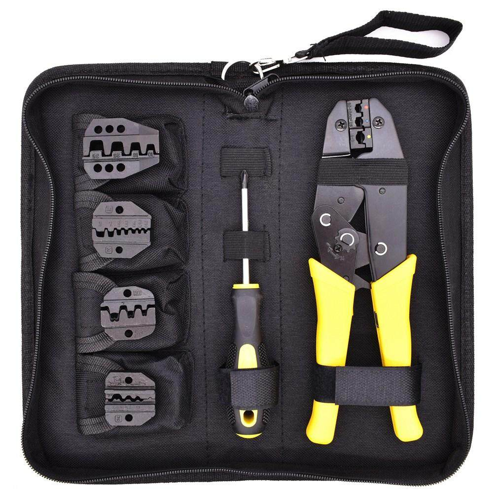 Wire Crimper Set Decrustation Engineering Ratchet Terminal Crimping Plier Electrical Hand Tool With Screwdriver 4 Spare Terminals