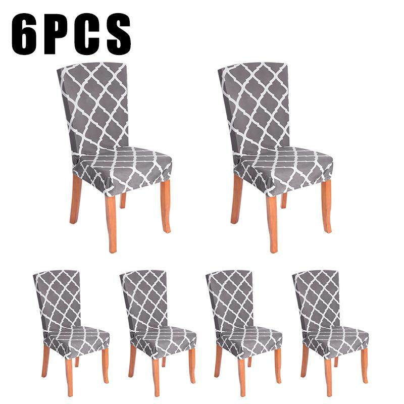 6pcs Soft Spandex Fit Stretch Short Dining Room Chair Covers with Printed Pattern Banquet Chair Seat Protector Slipcover for Home Party Hotel Wedding Ceremony
