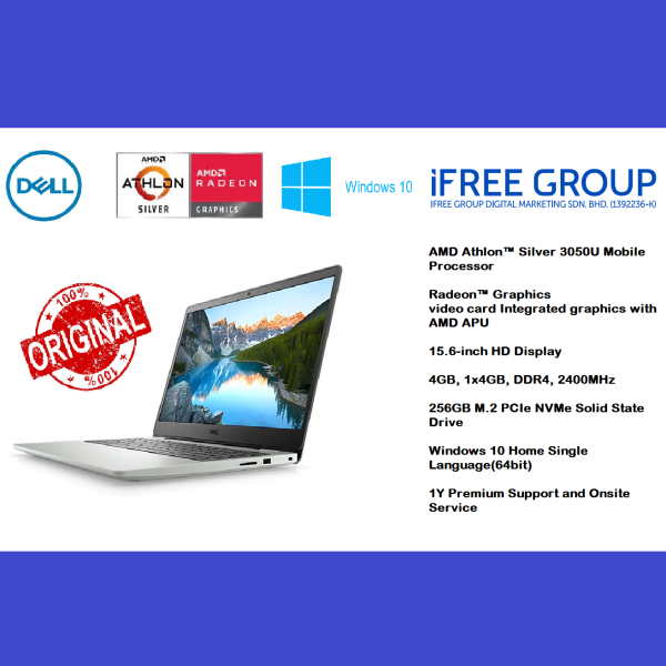 Dell Inspiron 15 3505 - Silver 15.6 inch ( Athlon 3050U, 4GB, 256GB SSD, ATI, W10 ) Laptop for work and student Malaysia