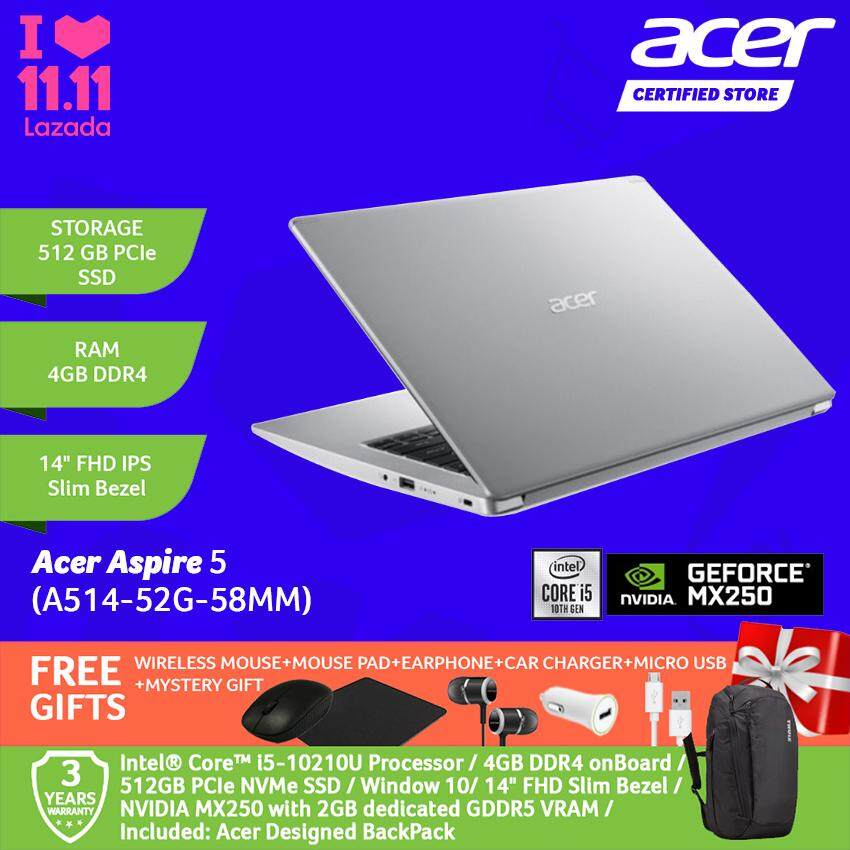 Acer Aspire 5 A514-52G-51MP/ A514-52G-53GU/ A514-52G-58MM Notebook /i5-10210U/4GB/512GB/MX250-2GB/WIN 10/14-Inch FHD+Free WIRELESS MOUSE+MOUSE PAD+EARPHONE+CAR CHARGER+MICRO USB +MYSTERY GIFT Malaysia