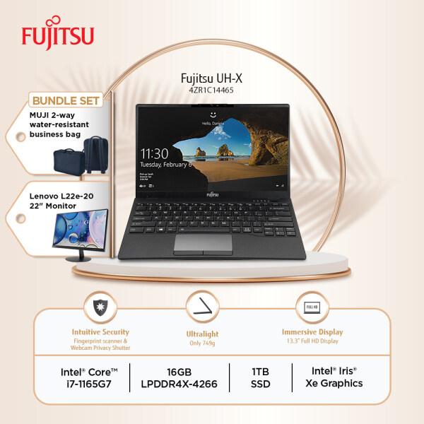 Fujitsu Laptop UHX 13 (4ZR1C14465) Black i7-1165G7 16GB 1TB SSD 13.3 FHD W10 + FREE MUJI BAG + Lenovo L22e-20 Monitor Malaysia