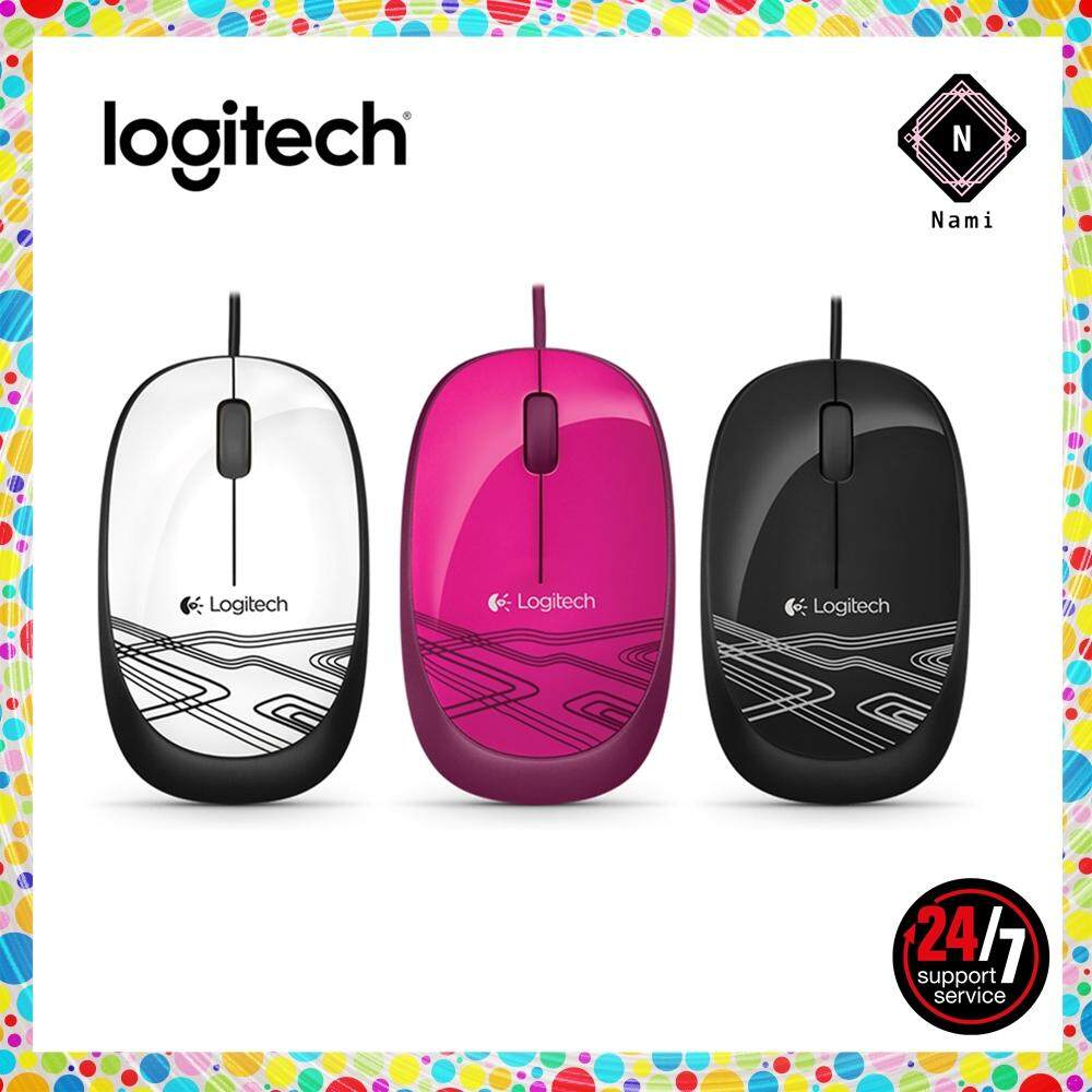 Logitech M105 Corded Optical Mouse - Black/White/Pink (Double Bubble Wrap Packing) Malaysia