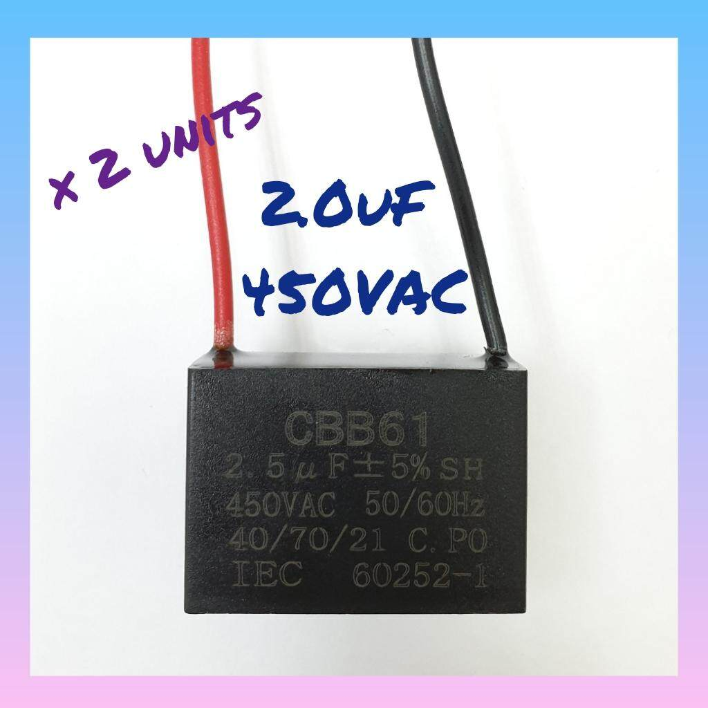 2x Cbb61 Fan Capacitor 2.0uf 450vac Square Type By Wol88.