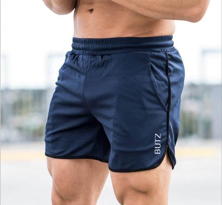 Luoke กางเกงขาสั้นออกกำลังกายผู้ชายยืดและกางเกงรัดรูปแบบสบายๆกีฬากางเกงวิ่งฟิตเนสกลางแจ้งกางเกงสีฟ้า By Super Swimsuit.