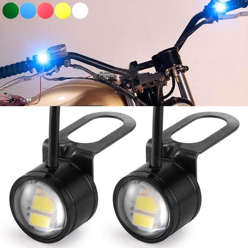 Lampu Kabut LED Mata Elang, 2 Buah DC 12V 5W, Lampu Belakang Mata Elang 20Mm, Lampu Sinyal untuk Sepeda Motor Mobil, Putih